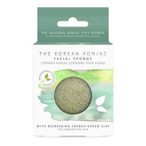 The Konjac Sponge Co 100% Natural Vegetable Fibre Face Sponge With Mineral Rich Green Clay