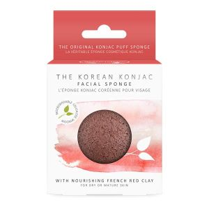 The Konjac Sponge Co 100% Natural Vegetable Fibre Face Sponge With Mineral Rich Red Clay