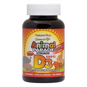 Natures Plus Animal Parade Vitamin D3 500iu 90 Black Cherry Flavour Chewables