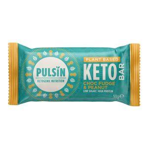 Pulsin Choc Fudge & Peanut Plant Based Keto Bar 50g