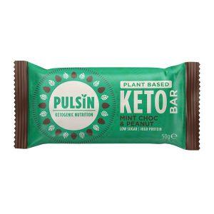 Pulsin Mint Chocolate and Peanut Plant Based Keto Bar 50g