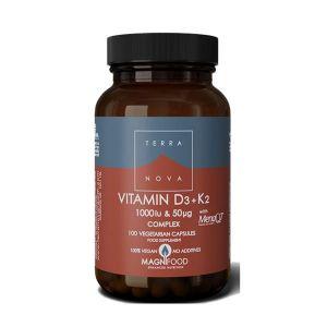 Terranova Vitamin D3 1000iu + K2 50ug 100 Vegetarian Capsules