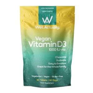 Well Actually Vitamin D3 1000IU 90 Chewable Vegan Tablets