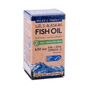 Wiley's Finest Wild Alaskan Fish Oil Easy Swallow Minis 630mg EPA+DHA 60 Softgels