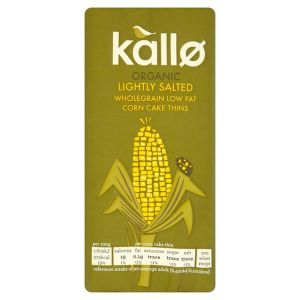 Kallo Organic Lightly Salted Low Fat Corn Cake Thins 130g