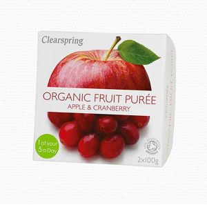 Clearspring Organic Fruit Puree Apple & Cranberry 2x100g