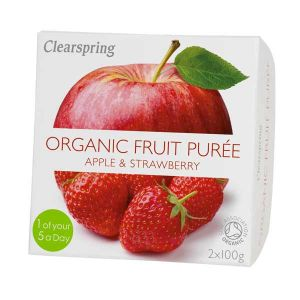 Clearspring Organic Fruit Puree Apple and Strawberry 2x100g