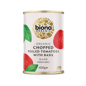 Biona Organic Canned Chopped Peeled Tomatoes With Basil 400g