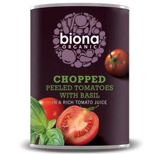 Biona Organic Canned Chopped Peeled Tomatoes With Basil 400g