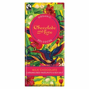 Chocolate And Love Milk Chocolate with Hazelnut and Sea Salt 80g