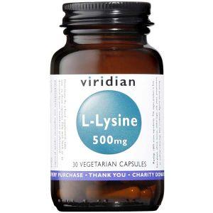 Viridian L-lysine 500mg 30 Vegetarian Capsules