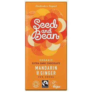 Seed & Bean Organic Fairtrade Mandarin and Ginger Extra Dark Chocolate Bar 85g