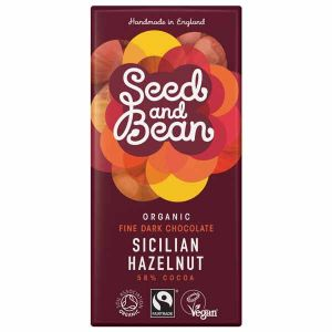 Seed & Bean Organic Fairtrade Sicilian Hazelnut Fine Dark Chocolate Bar 85g