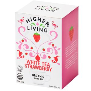 Higher Living Organic White Tea Strawberry 20 Tea Bags