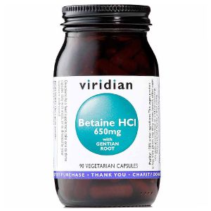 Viridian Betaine HCI 650mg With Gentian Root 90 Vegetarian Capsules