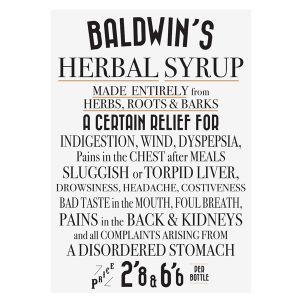 Baldwins Vintage Poster 'herbal Syrup'
