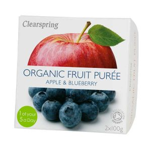 Clearspring Organic Fruit Puree Apple and Blueberry 2x100g