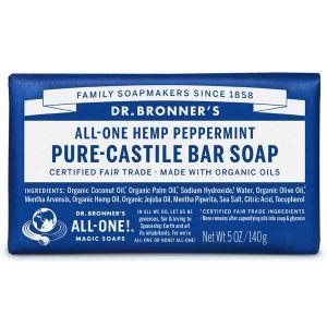 Dr.bronner All-one Hemp Peppermint Pure Castile Soap Bar 140g