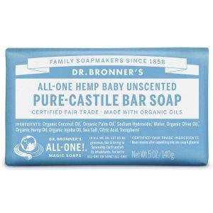 Dr Bronner Castille Unscented Baby Mild Soap 140g