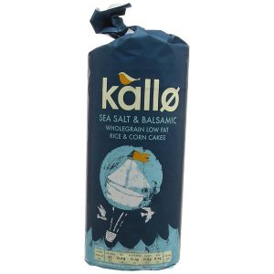 Kallo Sea Salt & Balsamic Wholegrain Low Fat Rice & Corn Cakes 127g