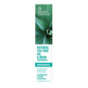 Desert Essence Natural Tea Tree Oil & Neem Toothpaste With Wintergreen (Flouride Free) 176g
