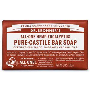 Dr Bronner's Pure Castile Soap Bar Hemp Eucalyptus 140g