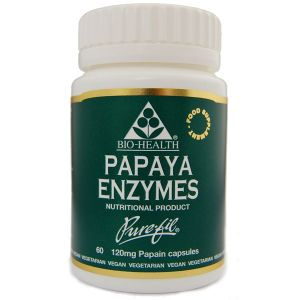 Bio-health Papaya Enzymes 120mg 60 Vegetarian Capsules