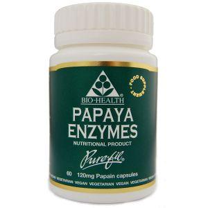 Bio-health Papaya Enzymes 120mg 60 Vegetarian Capsules