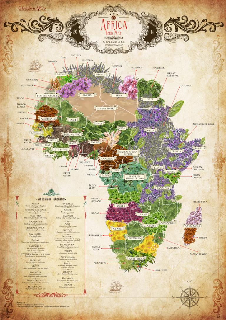 The Baldwins Herb Map Of Africa - Download & Share