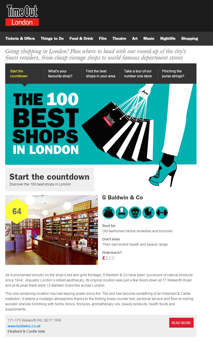 G Baldwin & Co - Number 64 in Time Out's Best 100 Shops In London