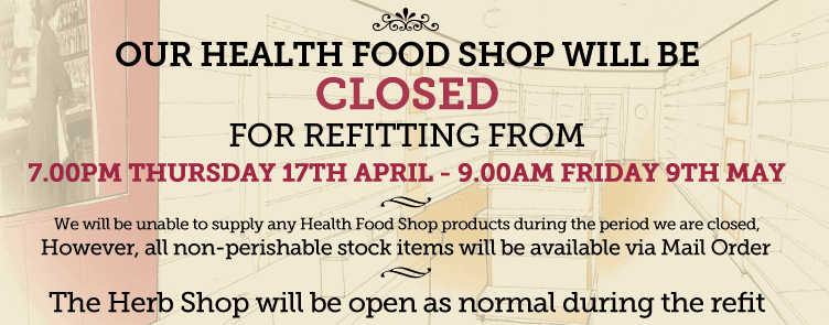 Baldwins Health Food Shop Refit ~ 17th April - 9th May